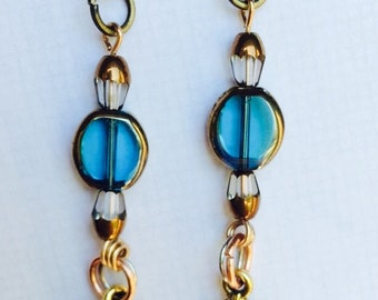 Teal Bead & Gold Leaf - long dangle earrings - boho