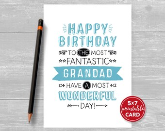 """Printable Birthday Card For Grandad - Happy Birthday To The Most Fantastic Grandad, Have A Most Wonderful Day! - 5""""x7""""-  Envelope Template"""