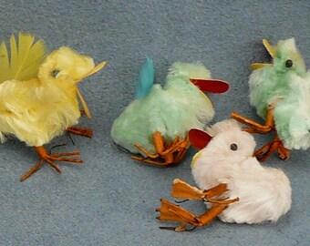 Vintage Easter Chenille Pom Pom Ducks Wire Feet - 8
