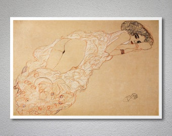 Reclining Woman by Gustav Klimt - Poster Paper, Sticker or Canvas Print / Gift Idea