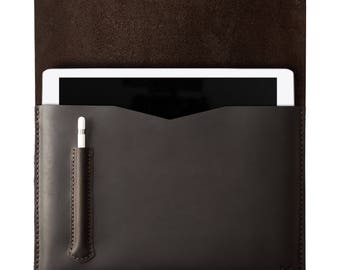 Dark Brown iPad Pro 10.5 & 12.9 inch Leather Case With Apple Pencil Holder, Custom Hand Stitched Sleeve Folio Cover, Monogrammed Mens Gifts