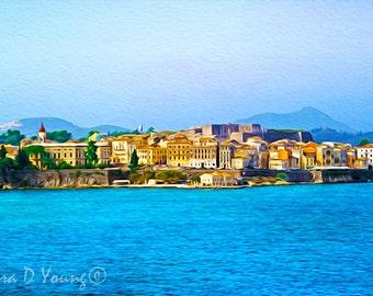 Greek Isles, Corfu Greece, Greece Art Print, Ocean Art Print, Ionian Sea, Travel Art Print, Mediterranean Coast, Fine Art Photography