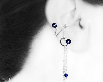 Blue Crystal ear cuff, No Piercing Needed, Swarovski Crystal, Dark Blue, Indigo,  Gift For Her by Youniquely Chic, Namaka III v5