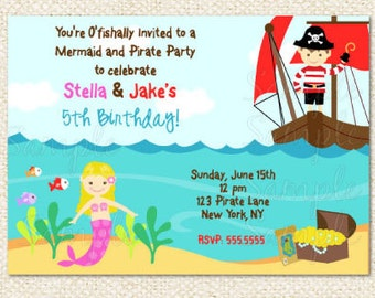 Mermaid Pirate Birthday invitations