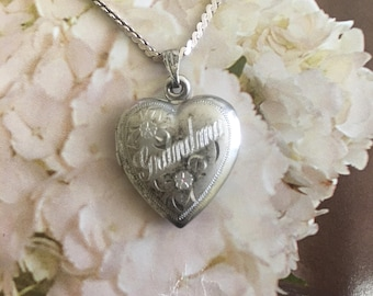 Sterling Silver Heart Locket, Engraved Grandma, Floral Etched Design, Vintage Puffy Heart Jewelry Personalized