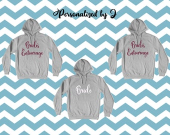 Bridesmaid pullover hoodie, Bride's Entourage, Bachelorette party shirt, Mother of the Bride, Maid of Honor Sweatshirt, Bridal Party Shirt