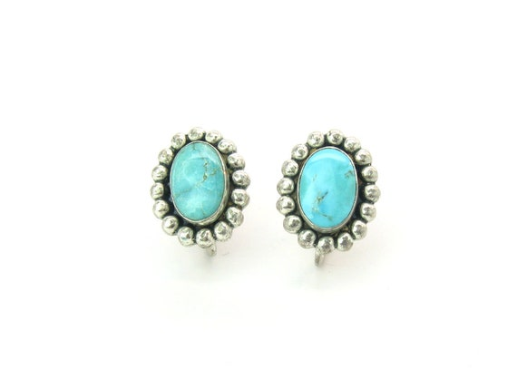 Small Fred Harvey Era Navajo Style Turquoise Sterling Silver Earrings