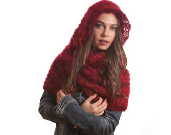 Made To Order Knitting Hand Knit Hooded Mohair Scarf, Winter Infinity Scarf with Hood by Solandia luxury winter fashion - choose your color