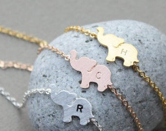 ELEPHANT anklet, Personalized initial elephant anklet, 925 silve anklet, bridesmaid gift idea, Elephant Jewelry, Animal Jewelry, friendship