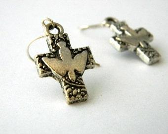 Cross Dove Earrings Silver Color Dangle Earrings