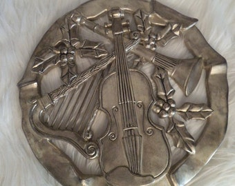 Vintage Silverplate Musical Instruments and Holly Wreath Trivet ~ Table use Or Wall hanging