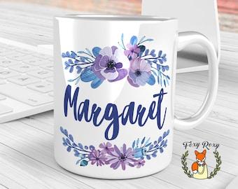 Blue Watercolor Mug, Personalized Coffee Mug, Custom Mug, Floral Monogram Mug, Bride Gift, Floral mug, Watercolor Ceramic, Floral, CM-026