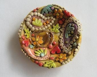 Rustic Paisley Ring Dish, Boho Paisley Trinket Dish, Jewelry Holder, Colorful Boho Ring Dish, Unique Gift Idea, Paisley