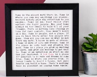 New Home Print; Housewarming Gift; New Home Gift; New Home Frame; AP036