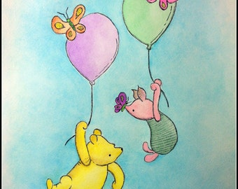 Custom Winnie the Pooh ink and watercolor painting illustration