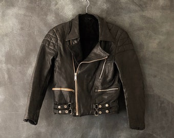 70s Black Motorcycle Jacket Quilted Leather Moto Aviator Winter Jacket Ladies Size XS/S