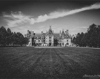 Landscape, Photography, Biltmore, Estate, House, Mansion, Black and White, Fine Art, Photo, Print, 5x7, 8x12, 12x18