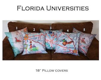 Map throw pillow Retro Florida University of Miami UM Florida State University FSU UF Gainesville Tampa college vintage graduation gift