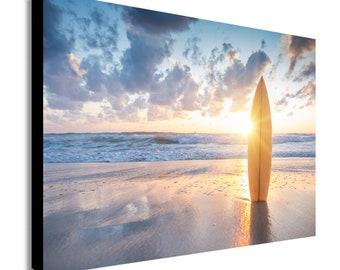 Surfboard - Beach Sunset - Canvas Wall Art Print. Various Sizes