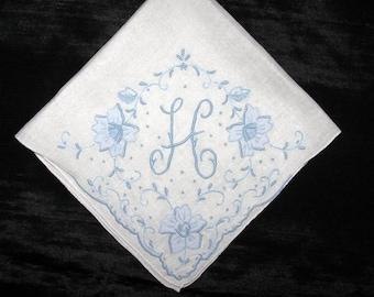 Monogrammed Handkerchief Initial D H J M B V E G or R Letter, Hankerchief Embroidered Letter Monogramed