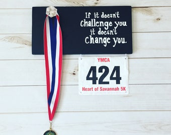Race bib and medal display, runner display, medal display, marathon medal and bib display, running sign, marathon sign
