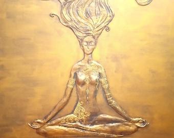 "Meditation, woman, Buddha, original 24 ""X 36"""