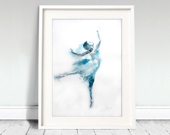 Ballerina watercolor art print. Wall art, wall decor, digital print. Up In The Air