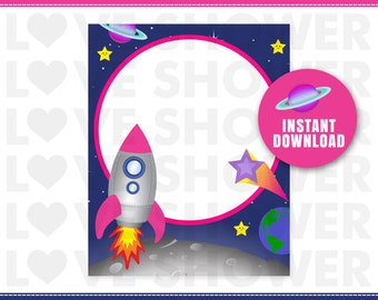 ASTRONAUT GIRL Blank Notes - Instant Download - Non Personalized - Printable - AB29
