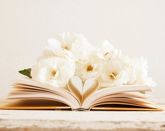 Flower Photography - Rose Photo - Book Heart Photography - White Rose Photo - 8x12 8x8 10x10 12x12 20x20 16x24 24x36 - Photography