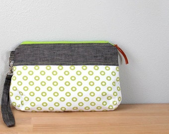 Wristlet Clutch, Zipper Bag, Small Purse in Gray Linen with Lime Green Circles