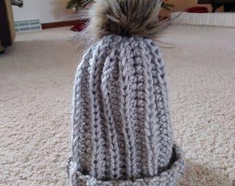 Grey - Slouchy - Beanie - Hat - Pom Pom - Grey- Charcoal- Red - Crochet - Silver - Colored - Beanie - Faux - Fur - Urban - Trendy_-
