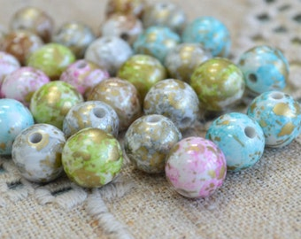 100pcs 10mm Bead Acrylic Mixed Colors Pastel Speckles Round Beads