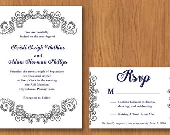 Elegant Wedding Invitation // Printable, DIY Wedding, Wedding Invitation, Custom Invitation