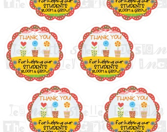 """instant download..... DIY Printable Teacher Appreciation """"Thank You For Helping Our Students to Bloom & Grow"""" 3 inch Gift Tags"""