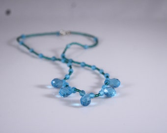 Blue Pearl Necklace with drops