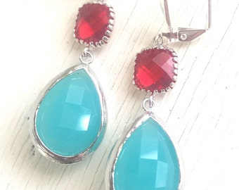 Turquoise and Red Dangle Earrings in Silver. Bridesmaid Earrings. Turquoise Jewelry. Jewel Fashion Earrings. Red Turquoise Earrings. Gift.