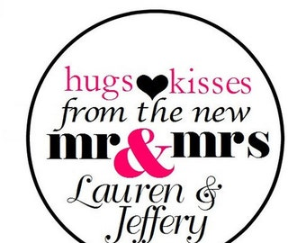 """108 324 648 PERSONALIZED .75"""" 3/4 Inch Wedding Candy Kiss Favor Labels Hugs Kisses Mr Mrs"""