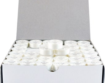 144 Prewound Bobbins For Machine Embroidery Fits Brother & More - Plastic Sided, White, L Style