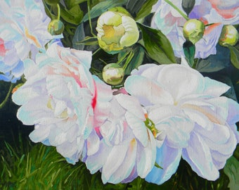 Still lifes from flowers, white peonies leaf, a canvas oil