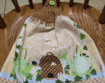 Bee Hive and Bees Crocheted Kitchen Towel