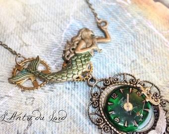 """Mermaid necklace pirate steampunk harry potter """"time drowning"""""""