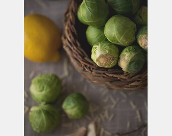 Food Photography, Brussels Sprouts, Lemon, Kitchen Art, Food & Drink, Farm House, Cooking, Dining, Kitchen Photo, Home Decor