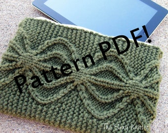 Aviatrix Cabled Clutch/Wristlet/iPad/Kindle Cover: an original knitting pattern from TheSexyKnitter