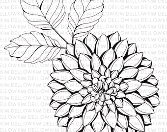 Digital Stamp - Dahlia Flower and Leaves Digi Stamp for art, mixed media, art journaling, card making and papercraft