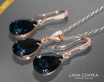 Navy Blue Rose Gold Jewelry Set Blue Earrings&Necklace Bridal Set Swarovski Montana Pink Gold Jewelry Set Prom Dark Blue Jewelry Bridesmaids