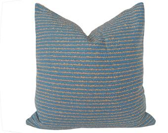 Rustic Pillows, Textured Pillows, Blue Throw Pillow, Farmhouse Pillows,  18x18, Couch Pillow, Blue Tan Pillows, Cabin Pillow, Cushion Covers