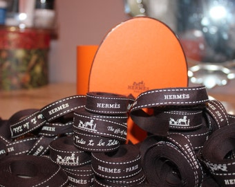 "Authentic Hermes Ribbon 1/2"" wide various lengths 30"" - 68"""