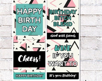 Pink and Black Abstract Birthday Wine Labels. Wine Bottle Labels for Birthday.