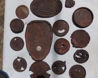 Rusty Can Lids, 15 Awesome Mixed Size Rusty Can Lids-craft project, mixed media, folk art, altered art