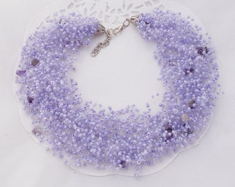 Purple bridesmaid jewelry gift lavender necklace amethyst jewelry bib statement necklace amethyst necklace mermaid necklace wedding necklace